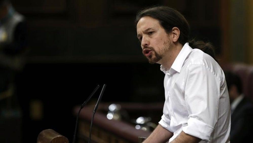 El líder de Podemos, Pablo Iglesias, en el Congreso de los Diputados