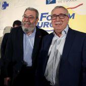 El secretario general de UGT, Cándido Méndez, y el de CCOO, Ignacio Fernández Toxo