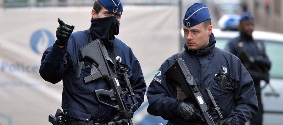 Agentes de la Policía en Bruselas