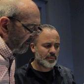 Miguel Rellán y Javier Gutiérrez durante la grabación de Andante