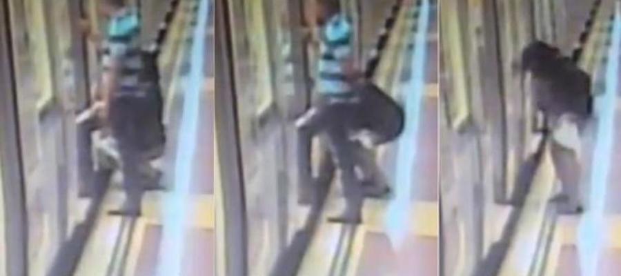 Imágenes difundidas por La Vanguardia de una mujer orinando en el Metro de Barcelona
