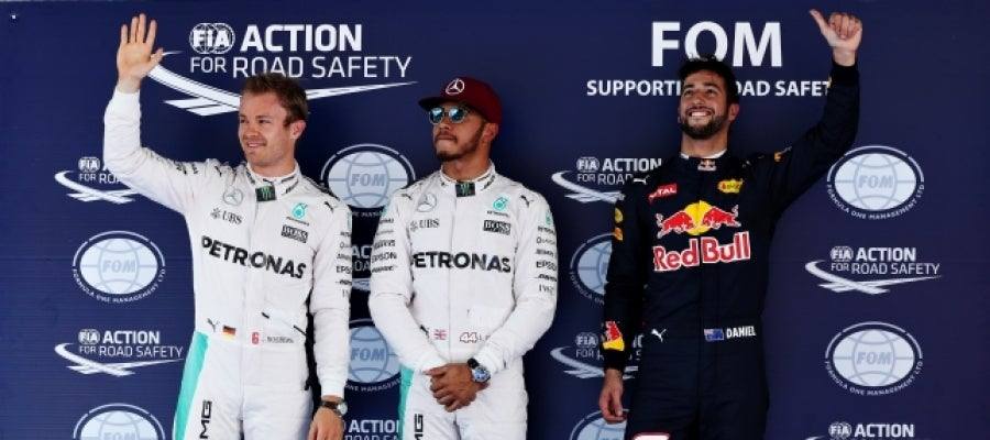 Hamilton, Rosberg y Ricciardo tras la clasificación del GP de España | Foto: Getty Images