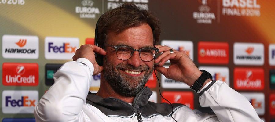 Jurgen Klopp en rueda de prensa previo a la final de la Europa League