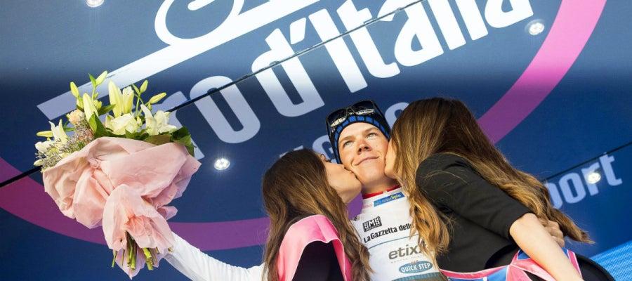 Bob Jungels, en el podio del Giro de Italia