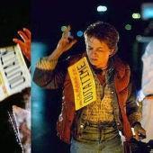 Eric Stoltz y Michael J Fox en el rodaje de Regreso al futuro