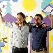 Pablo Iglesias y Alberto Garzón, en el inicio de la campaña electoral