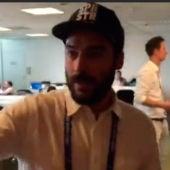 Alberto Pereiro en la  sala de prensa de la Eurocopa
