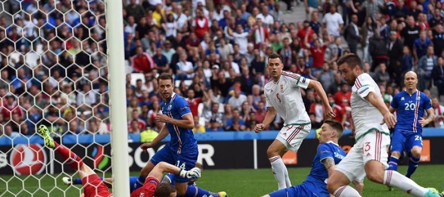 Encuentro entre la selección de Hungría y la de Islandia