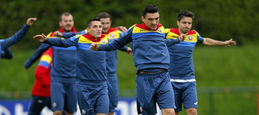 La selección de Rumanía durante un entrenamiento