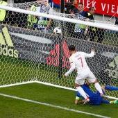 Morata marcando el 0-1 para España