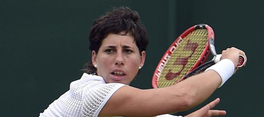 Carla Suárez en un partido de Wimbledon