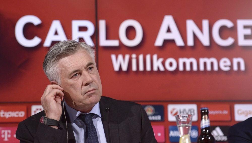 Ancelotti en su presentación como técnico del Bayern