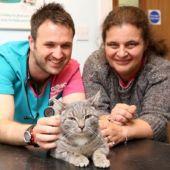 Bobby junto a su dueña y un veterinario.