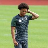 Leroy Sané durante un entrenamiento con Alemania