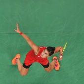 Carolina Marín, durante la final olímpica de bádminton