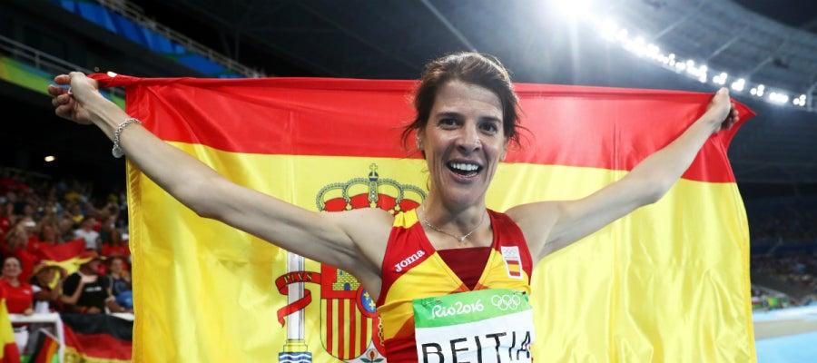 Beitia, con la bandera española