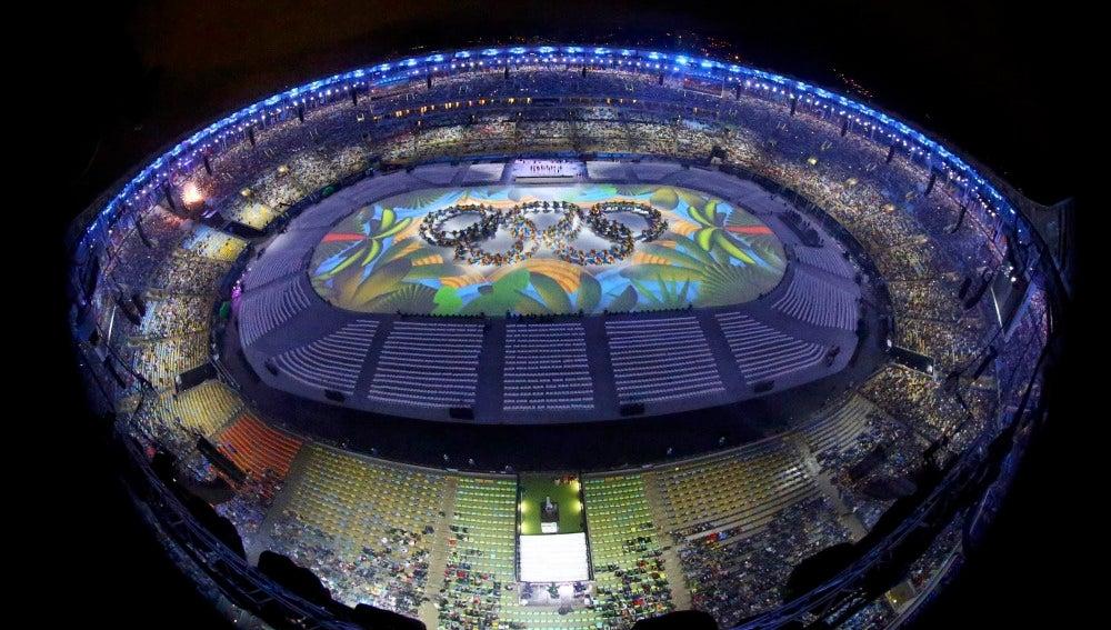 El estadio de Maracaná, durante la ceremonia de clausura