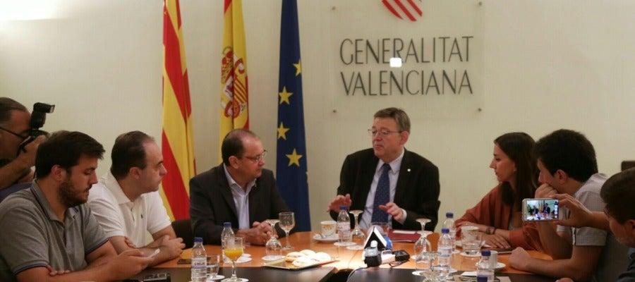 El presidente de la Generalitat Valenciana, Ximo Puig, en el desayuno este jueves con los medios de comunicación de Castellón.