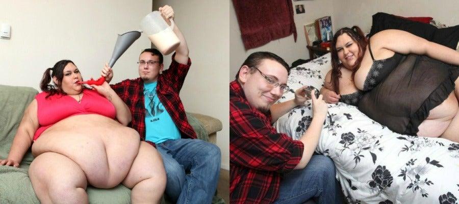 Monica Riley con su novio.
