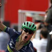 Nielsen celebra su victoria en la etapa de la Vuelta