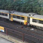 Imagen del tren que ha descarrilado en O Porruño
