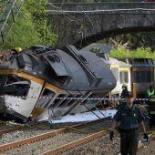 Tren descarrilado en Pontevedra