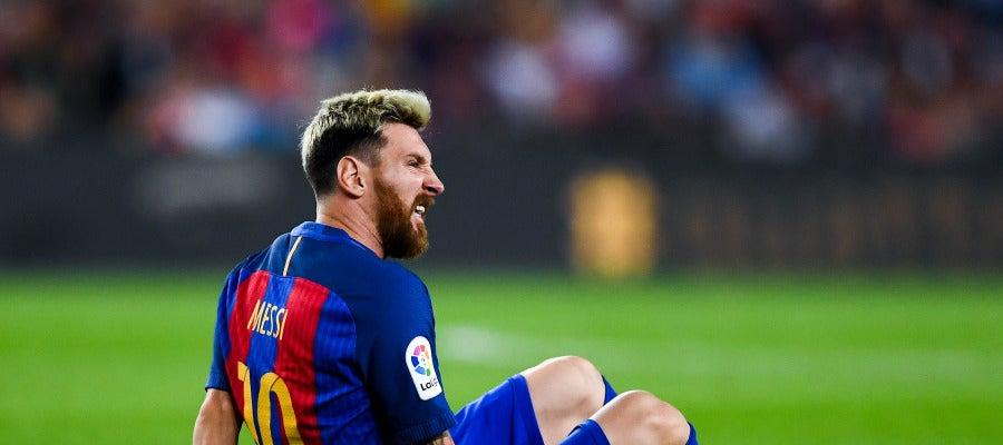 Messi, con dolores en el pubis