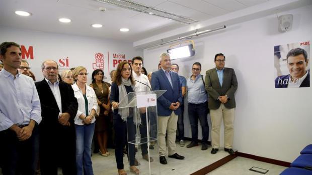 La secretaria general, Sara Hernández, durante la rueda de prensa posterior a la reunión de la Comisión Ejecutiva Regional del PSOE