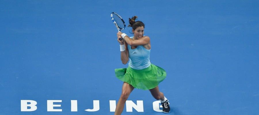 Garbiñe Muguruza, en el partido contra Begu en el Open de China