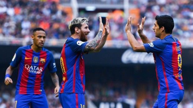 Leo Messi celebra un gol ante el Valencia
