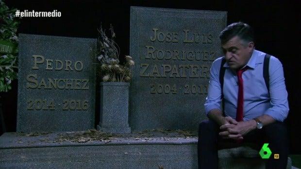 La tele con Monegal: Wyoming visita las tumbas de Zapatero y Sánchez