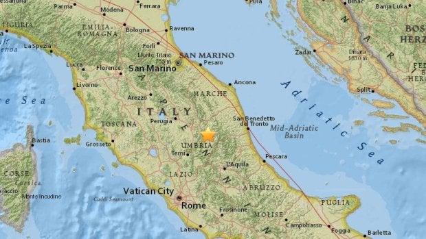Un terremoto de magnitud 5,4 grados sacude el centro de Italia