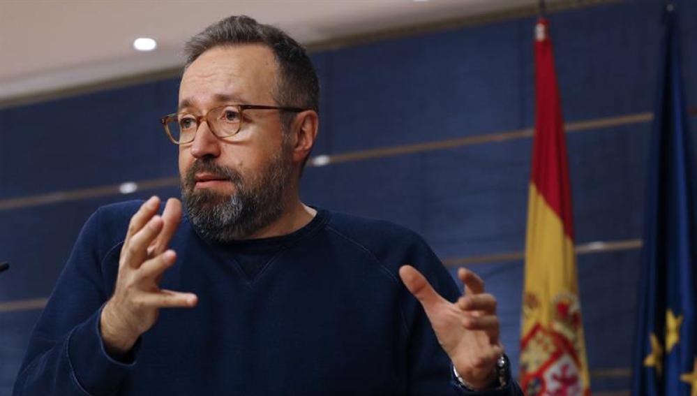 Juan Carlos Girauta, en su rueda de prensa en el Congreso de los Diputados.