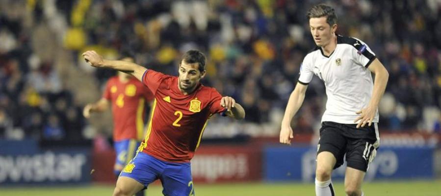 El lateral derecho, Jonny Castro, en el encuentro contra Austria.