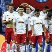 Los jugadores del Leizpig, en un encuentro en la Bundesliga.
