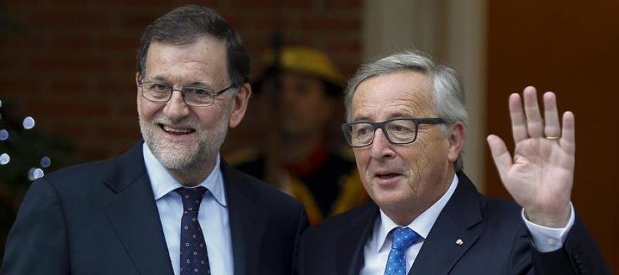 Mariano Rajoy con Jean Claude Juncker, en el Palacio de La Moncloa.