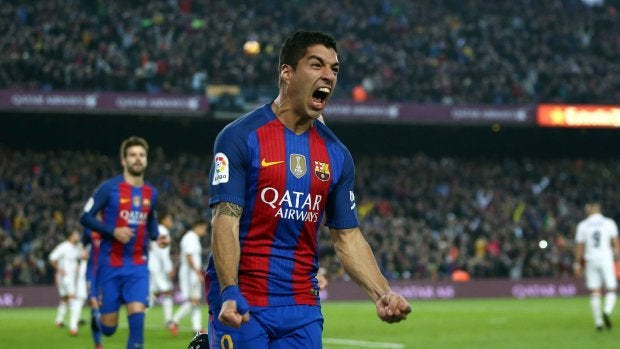 Suárez celebra su gol ante el Real Madrid