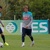 Pepe y Coentrao en un entrenamiento con Portugal