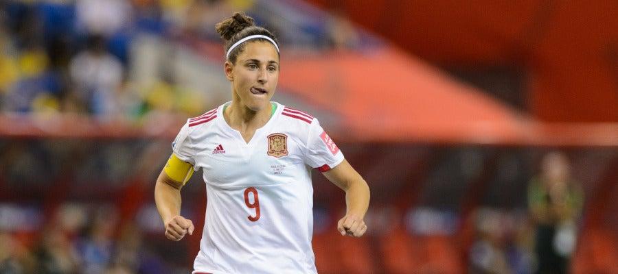 Vero Boquete, durante un partido con España
