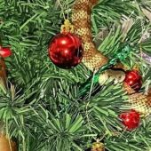 Imagen de la serpiente enroscada en el árbol de Navidad