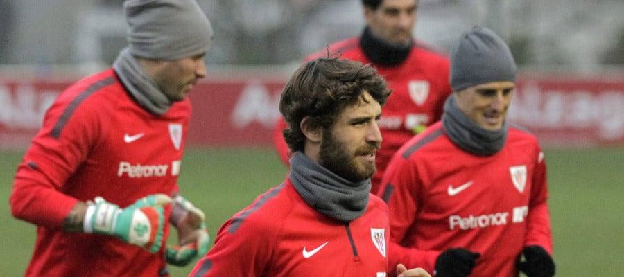 Yeray, durante un entrenamiento con el Athletic