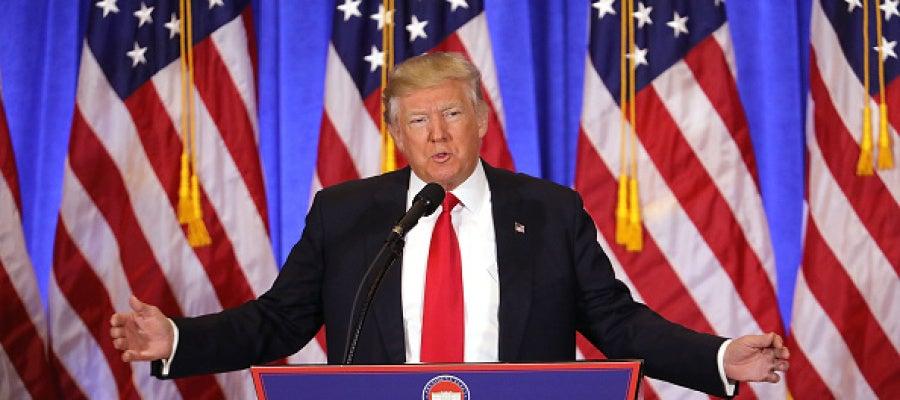 Donald Trump durante la rueda de prensa