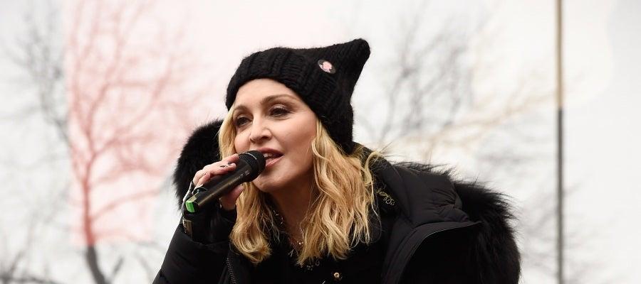Madonna durante su actuación en la Marcha de las Mujeres contra Trump