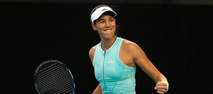 Garbiñe Muguruza celebra su victoria en el Open de Australia
