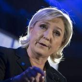 Marine Le Pen durante una rueda de prensa para informar de la agenda medioambiental de su partido