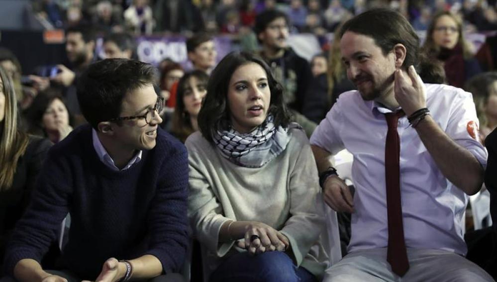 Iñigo Errejón, Irene Montero y Pablo Iglesias