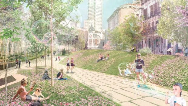Recreación de cómo sería la Plaza de España tras la remodelación