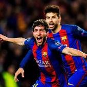Sergi Roberto celebrando el gol decisivo del partido