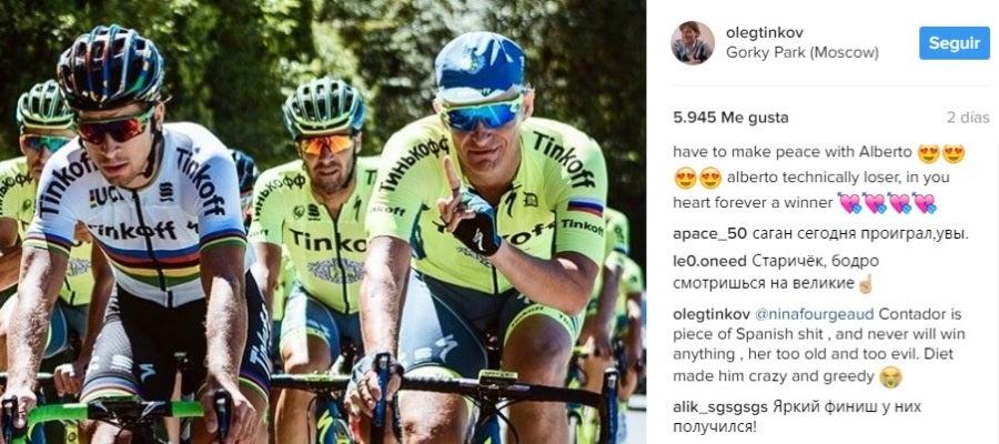 El insulto de Tinkov a Alberto Contador en Instagram