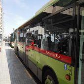 Autobuses urbanos de Elche en el intercambiador de la avenida de la Comunitat Valenciana.
